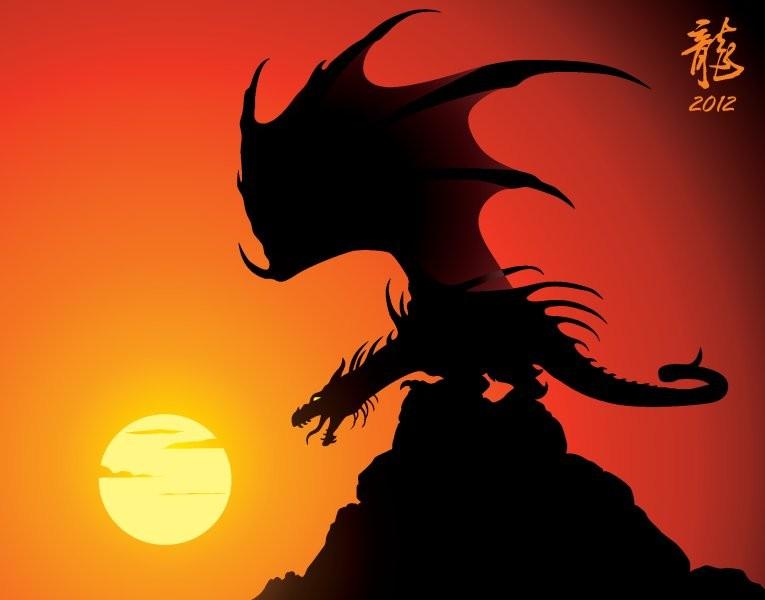 дракон на фоне заката