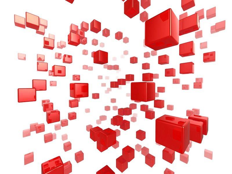 красные объёмные кубы