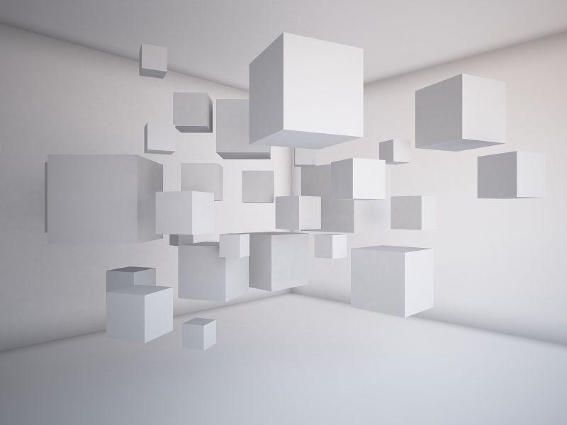 объёмные белые кубы